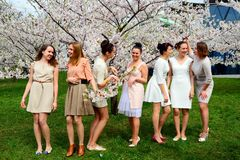 Girls have a spring celebration in Vilnius city Stock Photos