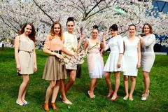 Girls have a spring celebration in Vilnius city Royalty Free Stock Photos