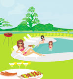 Girls having a Barbeque Party Royalty Free Stock Photos
