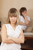 Girls having conflict at home stock images