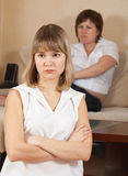 Girls having conflict at home Royalty Free Stock Photography