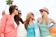 Girls having fun on the beach Royalty Free Stock Image
