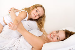 Girls having fun in a carefree morning Royalty Free Stock Photos