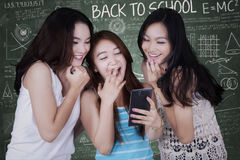 Girls having fun with cellphone Royalty Free Stock Photography