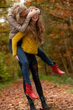 Girls having fun in the forest Royalty Free Stock Photos