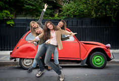 Girls having fun on the road Royalty Free Stock Photos