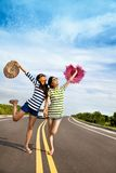 Girls having fun on the road trip stock photography