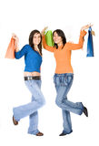 Girls having fun on a shopping day out Royalty Free Stock Photography