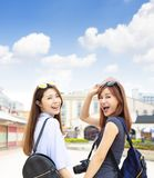 girls having fun on summer vacations Stock Photography
