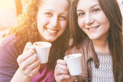 Girls Having Italian Breakfast Stock Photo