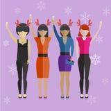 Girls having New Year's celebration party Stock Photography