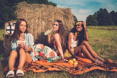 Girls having picnic Royalty Free Stock Images