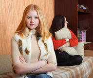 Girls having quarrel at home Royalty Free Stock Images