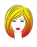 Girls head. Hair cosmetics female glamour bright stock illustration