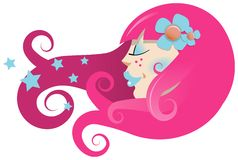 Girls head with stylised hair Royalty Free Stock Photography