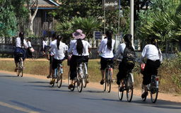 Girls headed to school in Cambodia. Cambodia, struggling on economic & political front, needs to overcome its low literacy rate to evolve in sustainable manner Royalty Free Stock Images