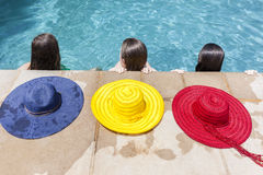 Girls Heads Hats Pool Royalty Free Stock Images