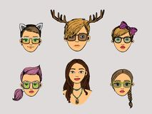 Girls heads in hipster style Royalty Free Stock Photography