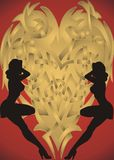 Girls and Heart. Gold and red -  illustration Royalty Free Stock Image