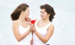 Girls with heart-shaped candy on nature Royalty Free Stock Photos