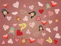 Girls and hearts seamless patterns Stock Photo