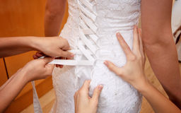 Girls Helping A Bride Stock Photo