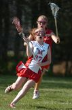 Girls High School Lacrosse. Girls High School Lacrosse team in game action in New Jersey stock photos