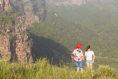 Girls Hiking Wilderness Stock Photos