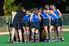 Girls Hockey Team Talk  Stock Images