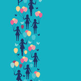 Girls holding balloons vertical seamless pattern Stock Photo