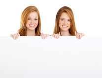 Girls Holding Banner Stock Image