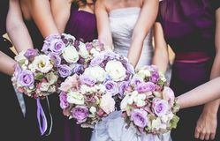 Girls are holding bouquets. royalty free stock photo