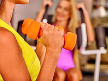 Girls holding dumbbells in sport gym Stock Images