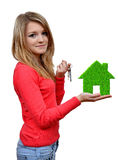 Girls holding in hands green house Stock Photo