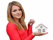 Girls holding in hands house Stock Photo