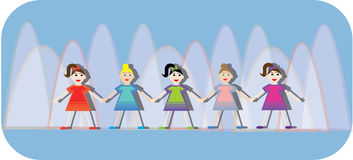 Girls holding hands. On a modern background Royalty Free Stock Photography