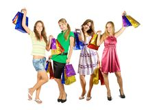 Girls holding shopping bags Stock Photo