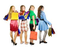 Girls holding shopping bags Stock Image