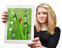 Girls holding a tablet computer. Isolated over a white background Royalty Free Stock Photography