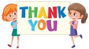Girls holding thank you sign royalty free illustration