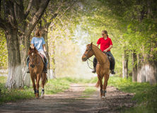 Girls on a horse Stock Photos