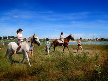 The girls on horseback. After a swim in the lake. Stock Photography
