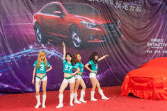 Girls hot dance. Liuzhou,China,June 6,2014.A dancing group perform hot dance at an auto show Royalty Free Stock Image