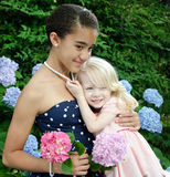 Girls hugging Royalty Free Stock Photo