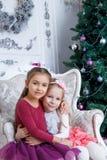 Girls hugging under Christmas magenta tree Royalty Free Stock Photos