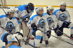 Girls ice hockey match Stock Images