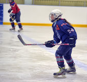 Girls ice hockey match. Children playing hockey on a city tournament St. Petersburg, Russia Royalty Free Stock Photography