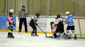 Girls ice hockey match. Children playing hockey on a city tournament St. Petersburg, Russia Royalty Free Stock Photos
