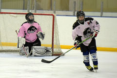 Girls ice hockey match stock photography