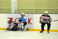Girls ice hockey match. Children playing hockey on a city tournament St. Petersburg, Russia Royalty Free Stock Image